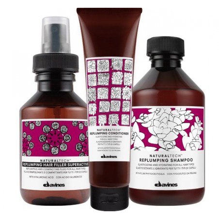 DAVINES NATURALTECH KIT REPLUMPING SHAMPOO 250ML+ CONDITIONER 150ML+FILLER 100ML